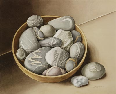 'Still Life with Bowl of Pebbles', Watercolour, Jenny Barron